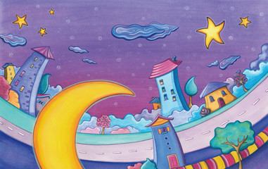 Cartoon houses and Moon. Watercolor illustration.