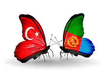 Two butterflies with flags Turkey and Eritrea