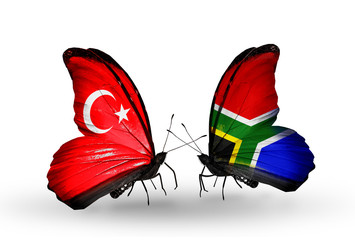 Two butterflies with flags Turkey and South Africa