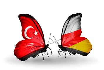 Two butterflies with flags Turkey and South Ossetia