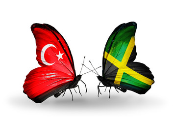 Two butterflies with flags Turkey and Jamaica