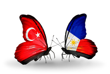 Two butterflies with flags Turkey and Philippines