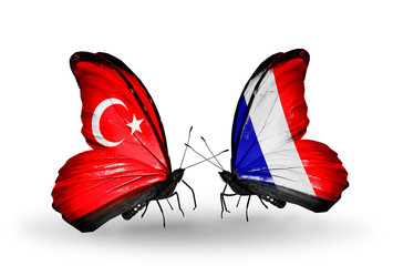 Two butterflies with flags Turkey and France