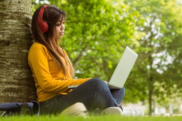 Relaxed young woman using laptop in park