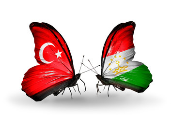 Two butterflies with flags  Turkey and Tajikistan
