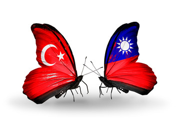 Two butterflies with flags Turkey and Taiwan
