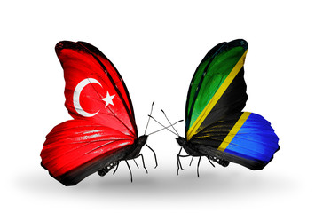 Two butterflies with flags Turkey and Tanzania