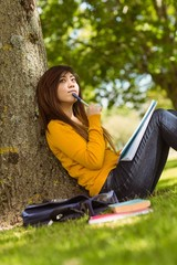 Female student with books sitting against tree in park