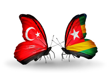 Two butterflies with flags Turkey and Togo
