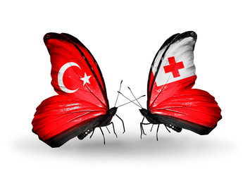 Two butterflies with flags Turkey and Tonga