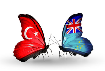 Two butterflies with flags Turkey and Tuvalu