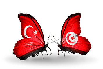Two butterflies with flags Turkey and Tunisia