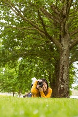 Female photographer at park
