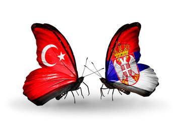 Two butterflies with flags Turkey and Serbia