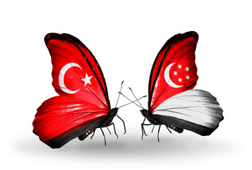 Two butterflies with flags Turkey and Singapore