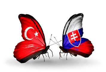 Two butterflies with flags Turkey and Slovakia