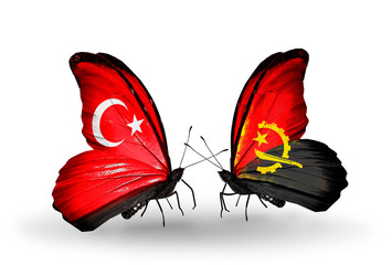 Two butterflies with flags Turkey and Angola