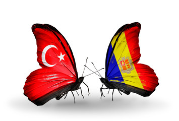 Two butterflies with flags Turkey and Andorra