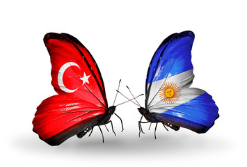 Two butterflies with flags Turkey and Argentina