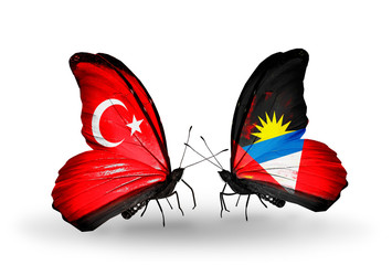 Two butterflies with flags Turkey and Antigua and Barbuda