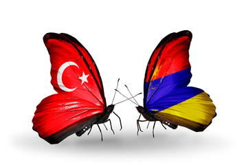 Two butterflies with flags Turkey and Armenia