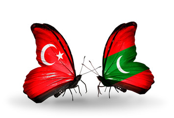 Two butterflies with flags Turkey and  Maldives