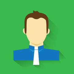 Business man minimalistic portrait icon with shadow