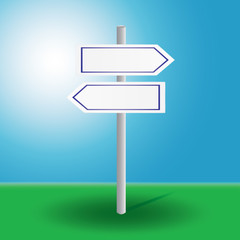 vector illustration of signpost to decide direction on grass