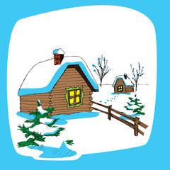 vector illustration of drawed sketch cottage in snowy landscape