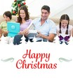 Composite image of family opening christmas gifts
