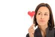 canvas print picture - Frau hält ein Herz in der Hand