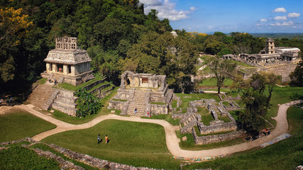 Mayan ruins in Palenque, Chiapas, Mexico. Palace and observatory