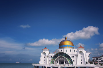 Famous Malacca Straits Mosque in Malaysia