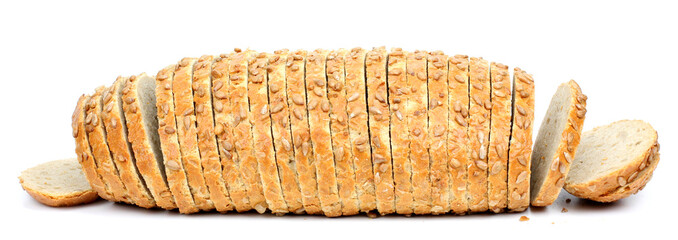 sliced bread isolated on white background.