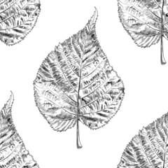 Autumn monochrome seamless stylized leaf pattern. Seamless