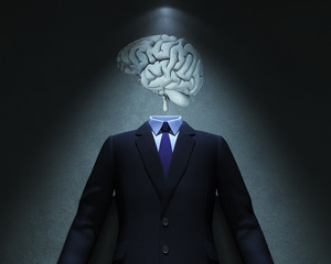Brain and Suit in spot of light
