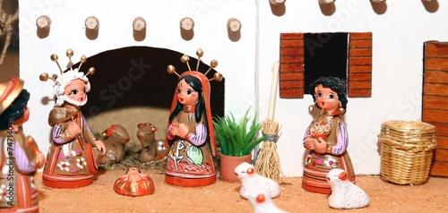 Leinwandbild Motiv Nativity scene with Holy Family Mexican style