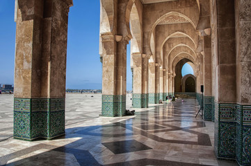 Interiors passage of Hassan II mosque, Casablanca