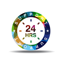 24 Hours Support Colorful Vector Icon