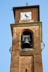 mozzate    wall  and church tower bell sunny day milan