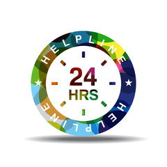24 Hours Helpline Support Colorful Vector Icon