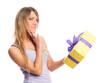 canvas print picture - Mädchen hält Geschenk