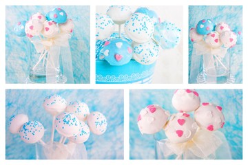 Collage of cake pops in white and soft blue.