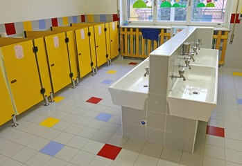 large bathroom of a nursery without people