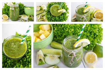 Collage of fresh organic green vegan smoothie