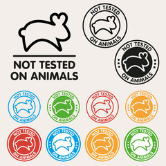No animals testing sign icon. Not tested symbol. Round colourful