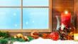 canvas print picture - Weihnachtsdekoration am Fenster