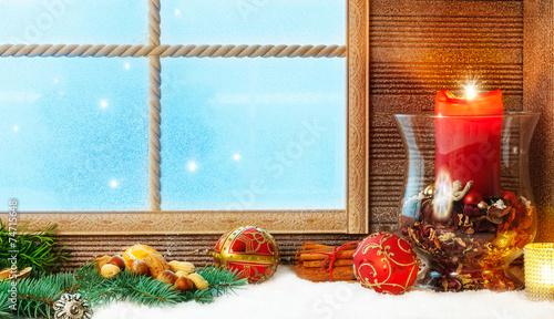canvas print picture Weihnachtsdekoration am Fenster