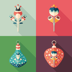 Colorful flowers and Christmas tree toys flat square icons.