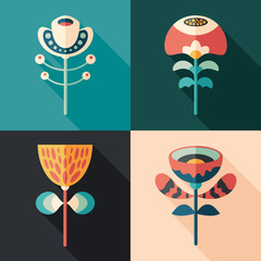 Colorful flowers flat square icons. Christmas set 1.